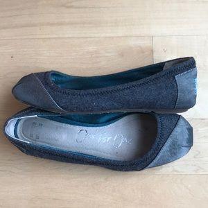 Toms ballet flats grey flannel and grosgrain 6